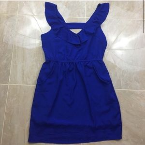 NWOT Royal Blue Ruffle Dress with Pockets